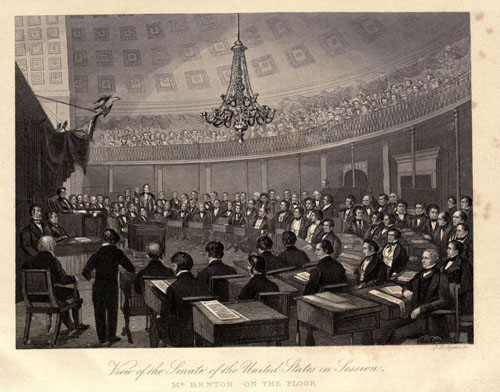"""View of the United States Senate in Session. Mr. Benton on the Floor."" From ""Thirty Year's View."""