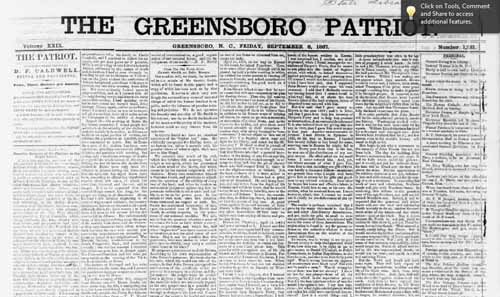 The Greensborough Patriot, September 6, 1867 [1867-09-06], edited by D.F. Caldwell. Image courtesy of UNC-G Libraries.