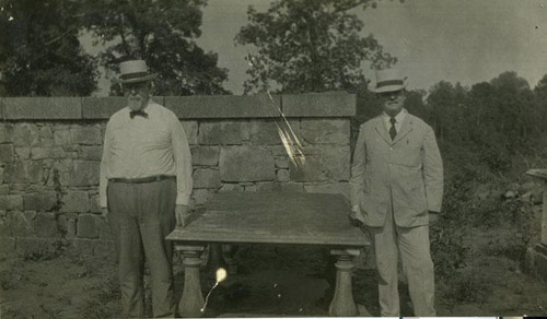 Photo of tomb of William R. Davie with William A. Graham and Walter Clark standing on either side. Image courtesy of the NC Museum of History.