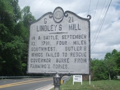 Marker at Lindley's Mill.