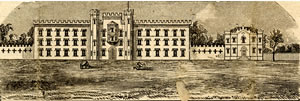 Drawing of the North Carolina Military and Polytechnic Academy, formerly the North Carolina Military Academy. Image courtesy of UNC Libraries.