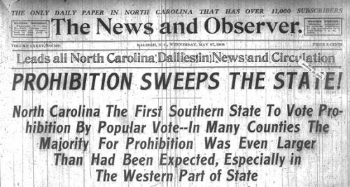 Prohibition headline from Raleigh News & Observer, 1908
