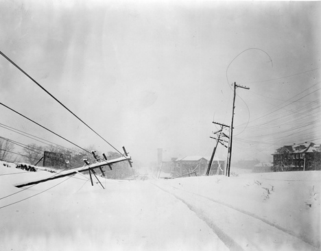 Snow Storm, April 2-3, 1915, Hillsborough Road (Hillsborough Street?), near A&M College (NC State University?), Raleigh, NC. From Carolina Power and Light Photograph Collection, North Carolina State Archives, call #: PhC68_1_490_1.