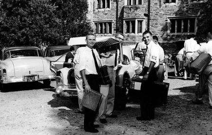 """Members of the campus YMCA chapter assisted incoming freshmen with the move-in process."" Courtesy of Duke University Archives. Durham, NC."